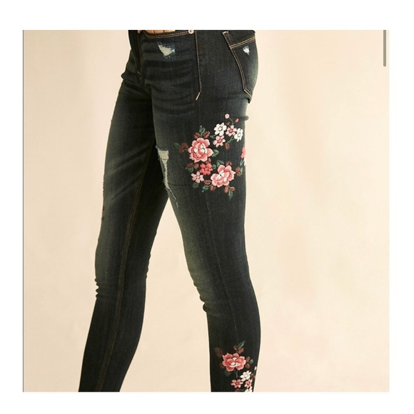 EXPRESS Mid-rise Embroidered Jeans